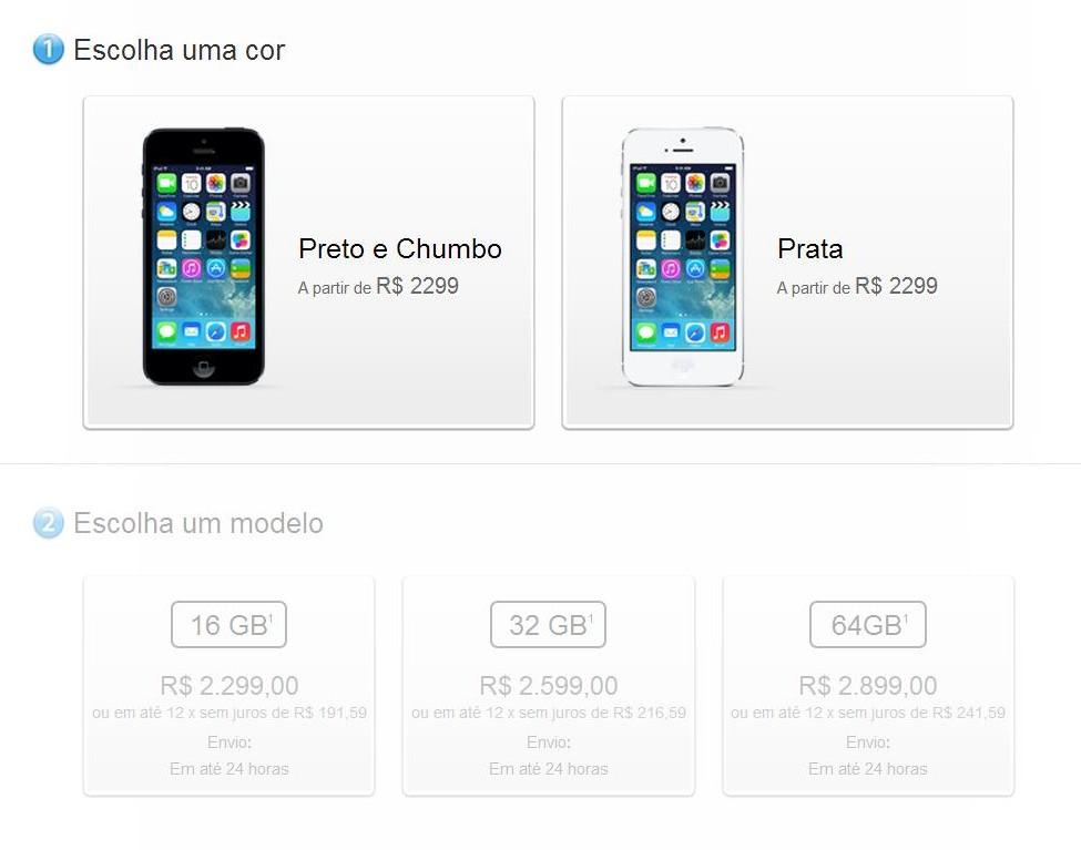 Preços do iPhone 5 caem na loja oficial da Apple brasileira