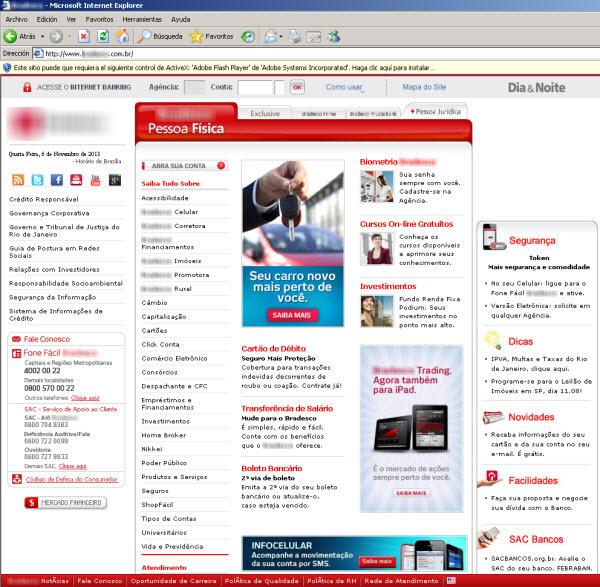 No browser dos usuários infectados pelo malware, o sie de um determinado banco é exibido assim...