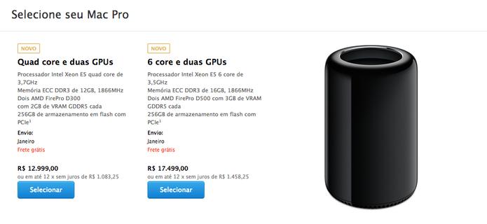 Em comparação, os valores dos mesmos modelos na Apple Store dos EUA são entre US$ 2.999,00 e US$ 3.999,00 respectivamente.