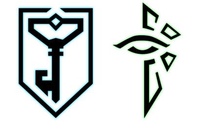 """Simbolos das Facções: """"The Resistence"""" e """"The Enlightened"""""""