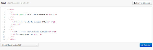 HTML Table Generator