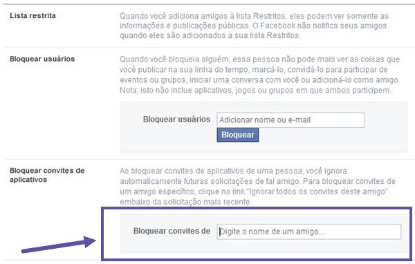 Facebook - Bloqueando convites