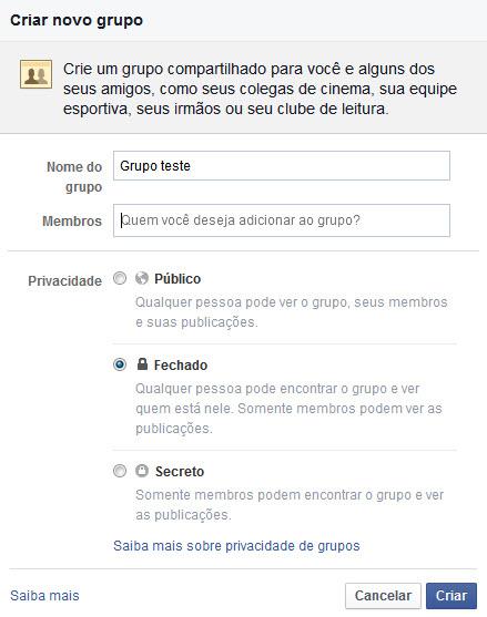 Facebook - Criar Crupos
