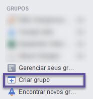 Faceook - Criar Crupos
