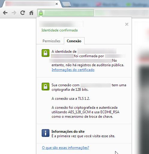 Informações certificado SSL no Google Chrome