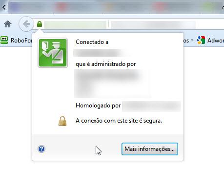 Informações certificado SSL no Firefox
