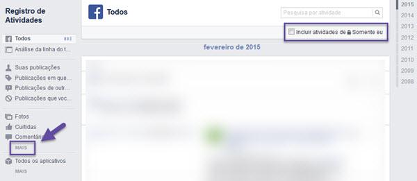 Facebook - Histórico de buscas