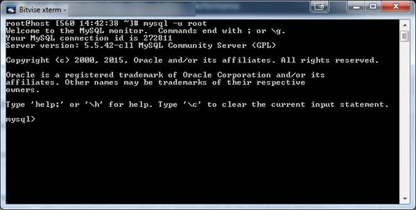 SSH - Criando banco de dados MySQL