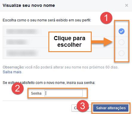 Facebook - Alterando nome