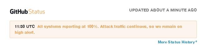 Status do Github diz que o site está funcionando normal, mas o ataque continua