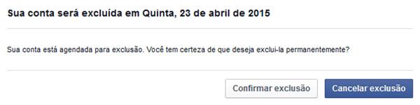 Facebook - Excluir Conta