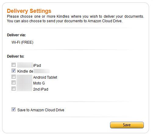 Amazon - Send To Kindle - Extensão - Configurações