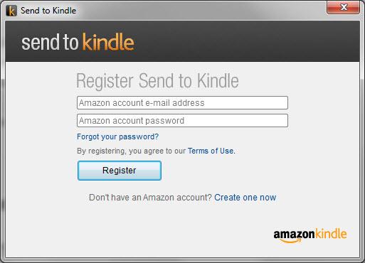 Amazon - Aplicativo Send to Kindle - Registro