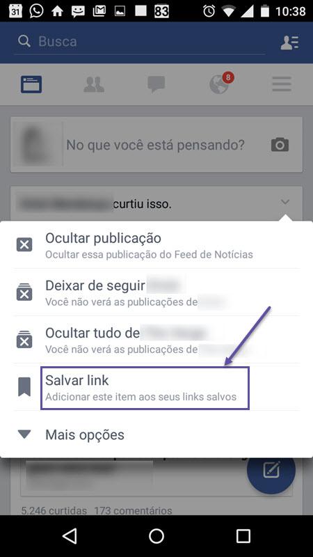 Facebook - Salvar Link