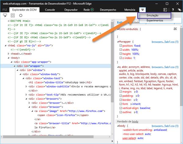 Navegador Microsoft Edge - Ferramentas para desenvolvedores