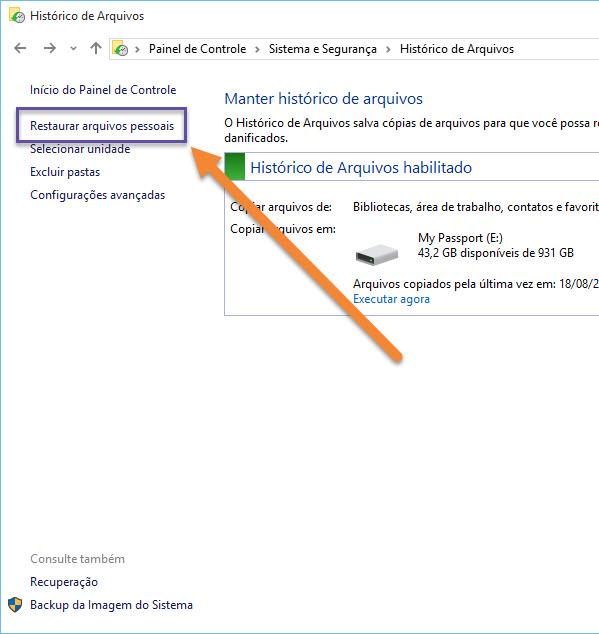 Windows 10 - Backup - Histórico de Arquivos