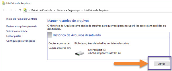Windows 10 - Backup - Histórico de Arquivos