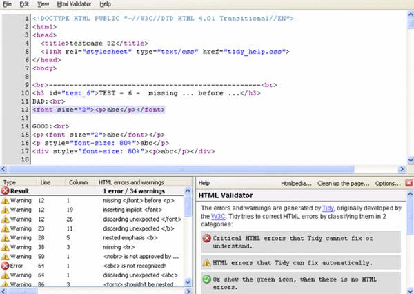 Extensão Firefox - HTML Validator