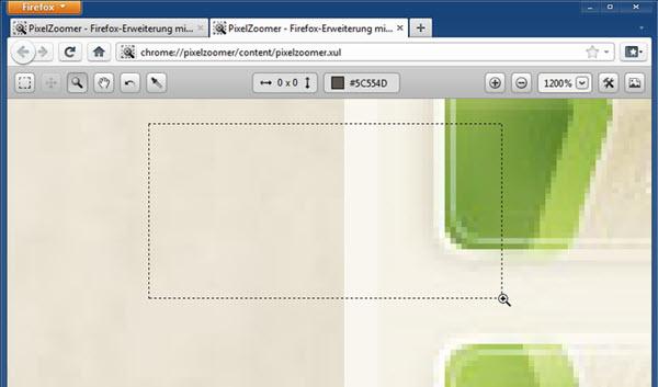 Extensão Firefox - PixelZoomer