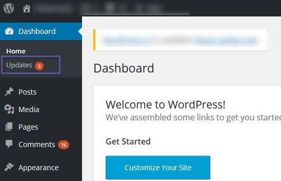 WordPress - Dashboard - Updates