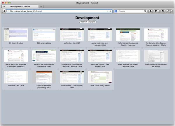 Extensão Tab Set Saver - Firefox