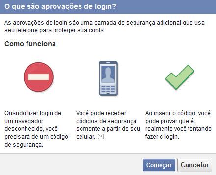 Facebook - Autenticação em duas etapas