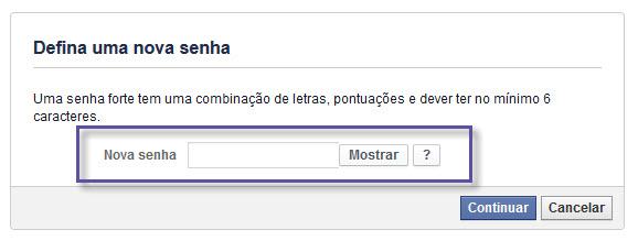 Facebook - Recuperação de Senha