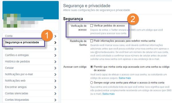 Twitter - Autenticação em duas etapas