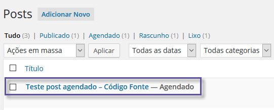 WordPress - Agendamento de posts