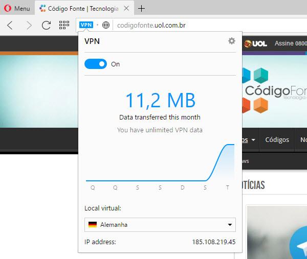 Opera - VPN SurfEasy integrada