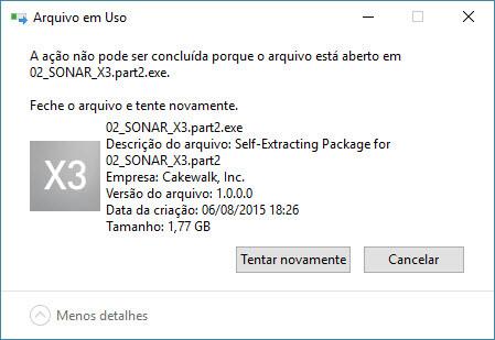 Arquivo bloqueado pelo sistema operacional