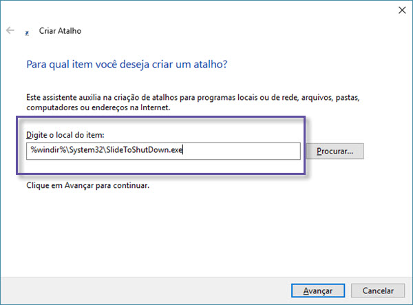 "Windows 10 - Atalho ""SlideToShutdown"""
