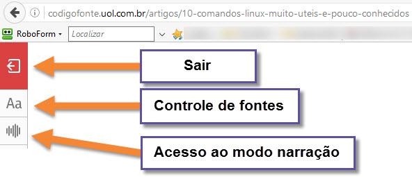 Firefox- Leitor - Narração