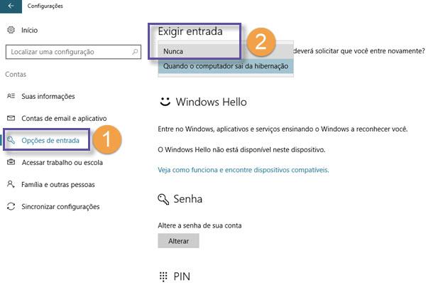 Windows 10 - Removendo exigência de senha quando saindo hibernação