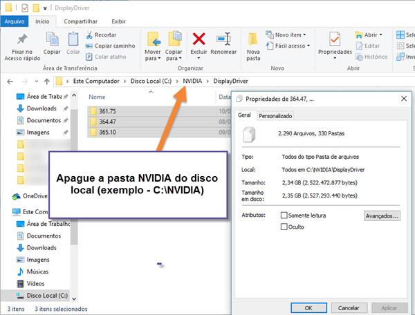Nvidia - Apagar arquivos - Instalação drivers