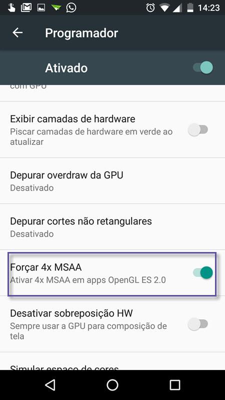 Android - Modo Programador - Anti-Aliasing