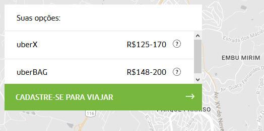 Uber - Estimativa preço corridas