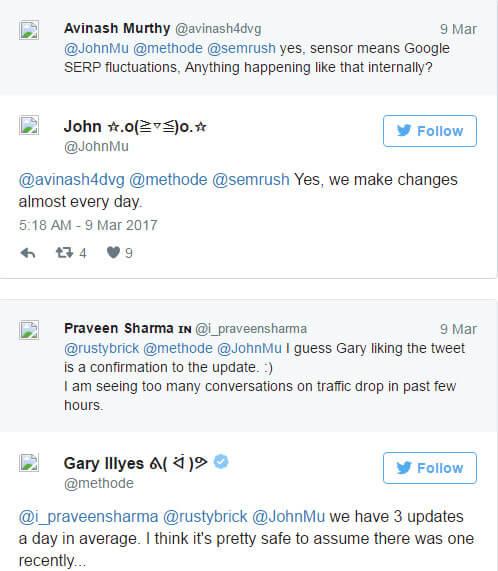 Tweets de Gary Illyes, engenheiro do Google